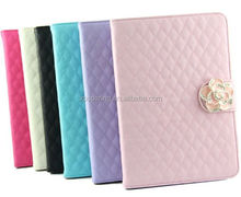 Camellia leather case for ipad mini 2, wallet woolen case pouch for ipad mini