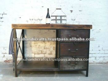 INDUSTRIAL ANTIQUE VINTAGE METAL TABLE FURNITURE