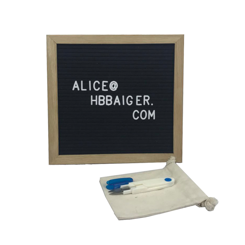 Black Felt Letter Board with Natural Oak Wood Frame and Stand 10x10 Inch <strong>plastic</strong> Changeable letters