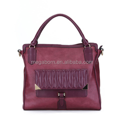 2014 Fashion Double Strap Detail Leather Tote Bag