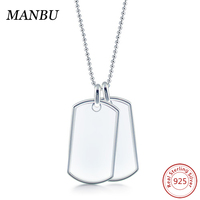 925 sterling silver dog tags necklace rectangle pendant