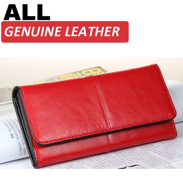 Ladies Women Wallets Genuine Leather Purses Long Wallet Women Elegant Female Red Women's Wallets Woman Leather Wallet Purse