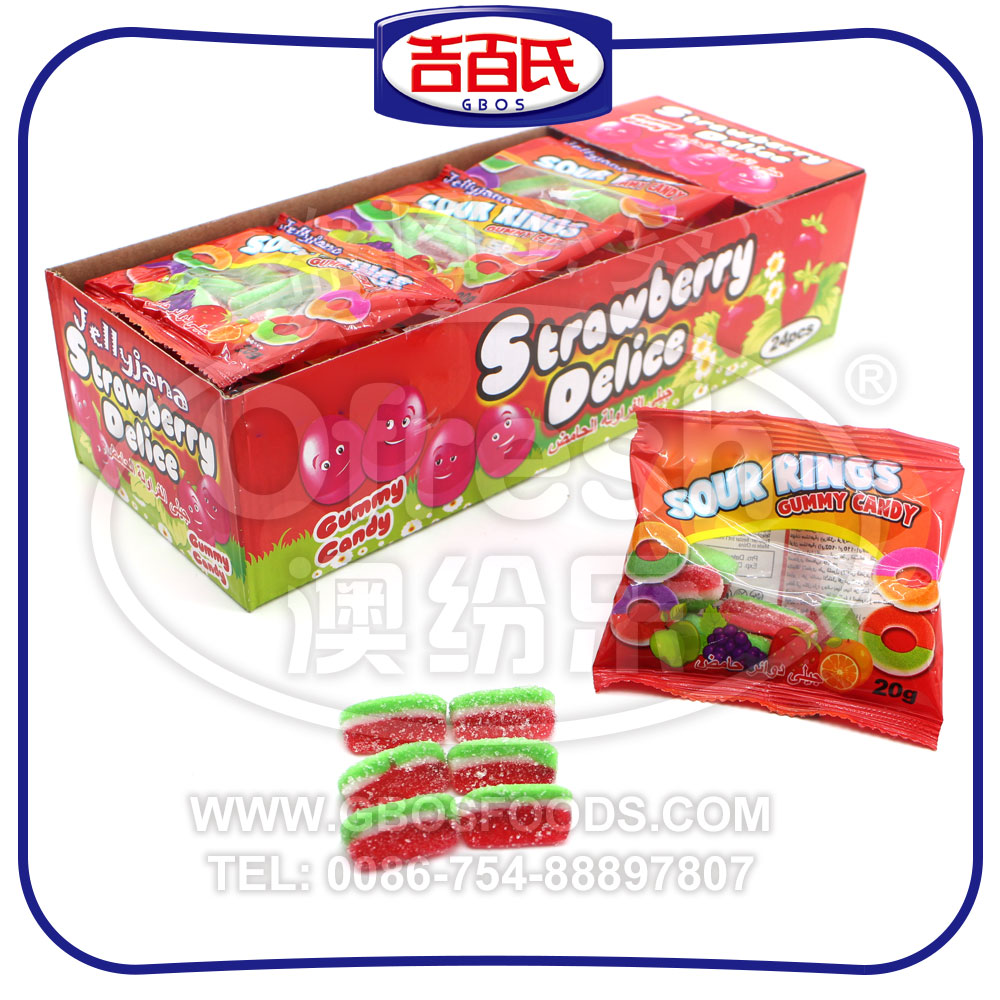 Halal Sour Watermelon Shape Gummy Candy With Box Packing