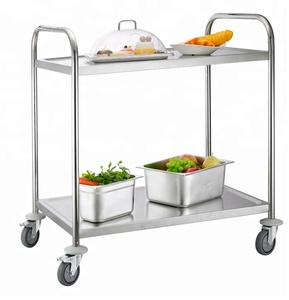 Lightweight Stainless Steel Folding Serving Trolley Food Service Cart With Wheels