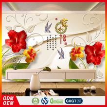 beautiful floral silk wall paper hotel 3D flower wall mural 3d wallpaper bed