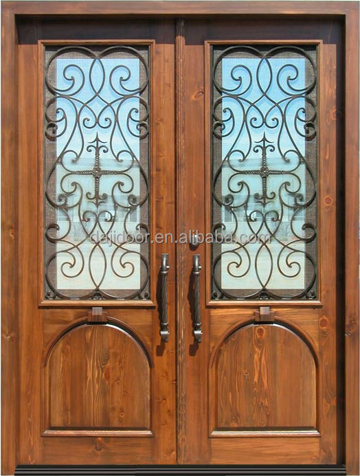 Custom Made Wrought Iron Entry Doors In <strong>Wood</strong> DJ-S9170MW