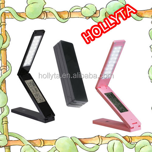 1.8w rechargeable foldable portable Multifunctional touch stepless dimming led desk lamp/light with time/date display sc HL-8011