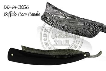 Damascus Steel Straight Razor Buffalo Horn Handle DD-14-3056