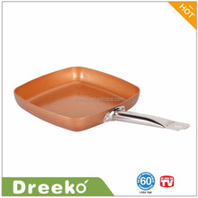 "9.5"" Copper Ceramic Non-Stick Deep Frying Pan Square Chef Pan"