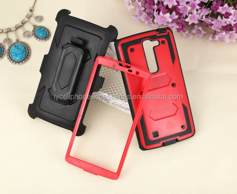 Heavy Duty Shockproof Durable Full Body Protect Rigged Hybrid Case with Belt Clip Holster and Kickstand for lg c90