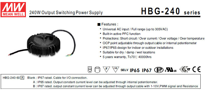 Meanwell Power Supply HBG-240-36 (240W 36V 6.7A) Single Output 240W 36V High Power LED Driver Circuit