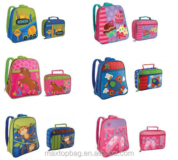 Wholesale boys and girls toddlers kid school bags backpack lunch bag box car/owl/shoes design