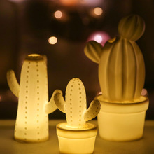 Bright ceramic LED lighted cactus decoration for bedroom decorative lamp