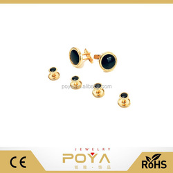 Fashion Mens Accessories Two Cufflinks Four Black Studs with Gold Trimming for Tuxedo Shirts