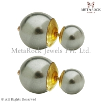 Handmade Pearl Gemstone 14k Gold Ball Beads Stud Earrings Jewelry Gift for Her