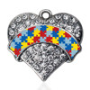C1103808 Crystal Heart Charms With Puzzle Customized Different Alphabet Souvenir Pendants