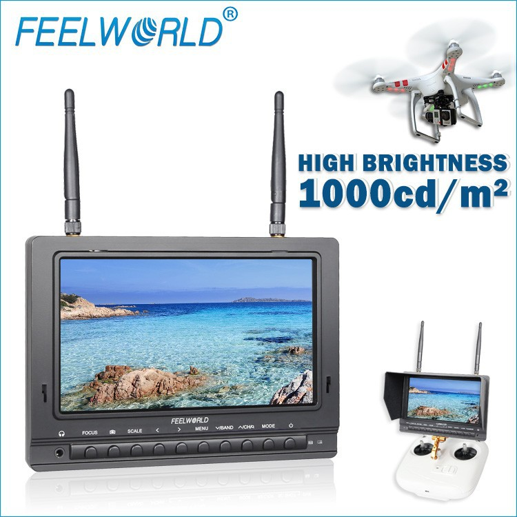 "Anti-Glare matte screen 7"" fpv monitor hdmi high brightness 1000cd/m2 inside battery sunshalde include rc helicopter airsoft gun"