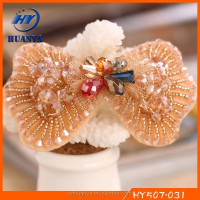 New designs legant fashion fancy bow handmade beaded hair grip