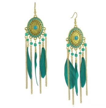 Fashion Feather Long Hanging Earrings