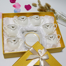 Royal silver decal white porcelain tea cup set with gift box