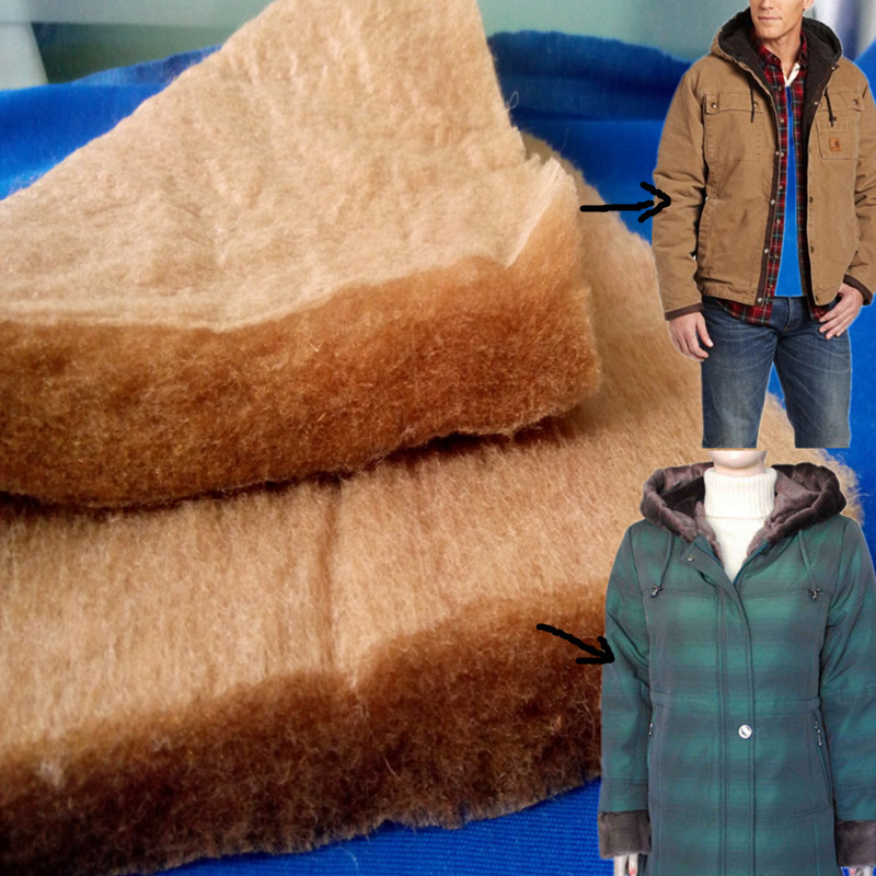 Thermal bonded 100% Camel hair wadding with fabric for jacket