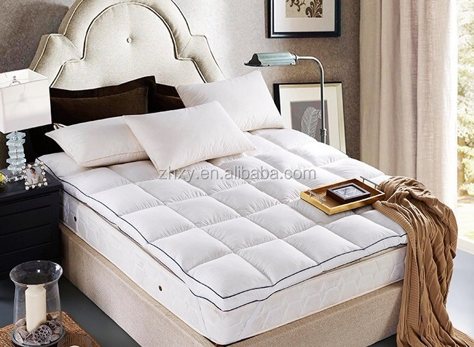 5% white goose down 95% white goose feather box stitched with baffles mattress topper protector - Jozy Mattress | Jozy.net
