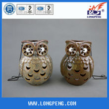 Ceramic Owl Shape Hanging Led Lantern,Decorative Led Lantern with Owl Design