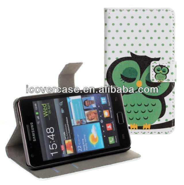 Lovely Polka Dots Cute Owl Stand Wallet Flip Leather Cover Case for Samsung Galaxy S2 i9100 Mobile Phone Bag Pouch Card Holder