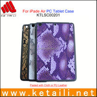 2014 Newest case for ipad air .plastic case with fabrice insert