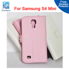 For Sumsang Galaxy S4 mini i9190 Transparent Card Pockets PU Leather Stand Wallet Case