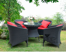 WF2121-16 outdoor wicker rattan dining table and chair furniture