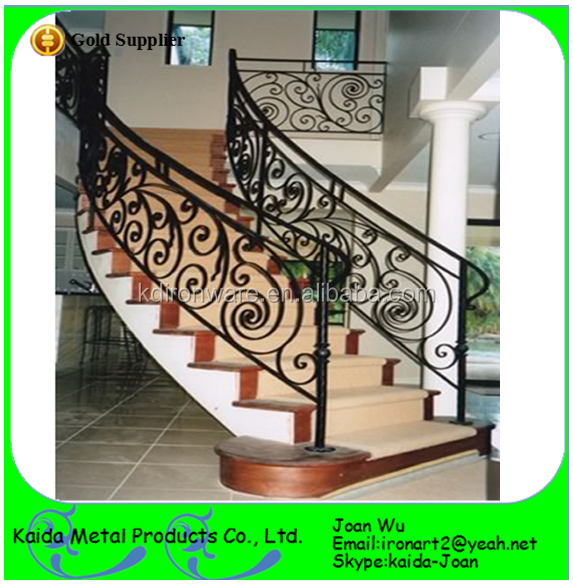 Whloesale Interior Wrought Iron Metal Curved Stair Railings/ Handrails Design