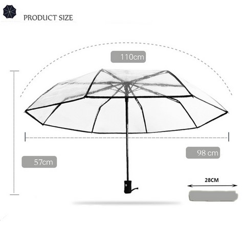 New Style Multiple Color Clear Automatic 3 Folding Transparent Umbrella