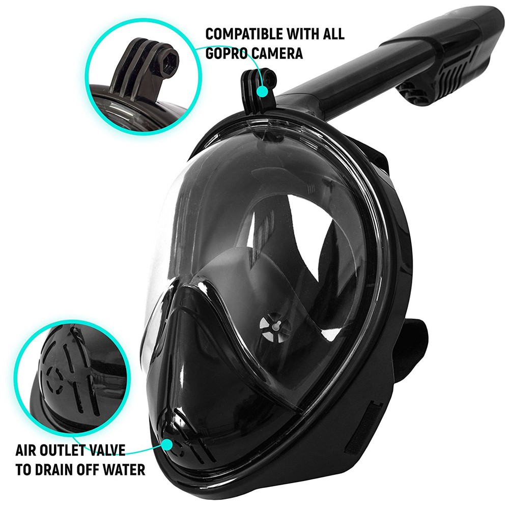 180 degree Panoramic free breathing Snorkel Mask with gopro mount