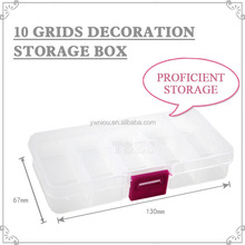 Transparent Compartments 10 grids Nail Art decoration Storage Box