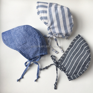 Baby hats perfect for spring and summer,Cap brimmed striped linen baby bonnet handmade for adorable baby