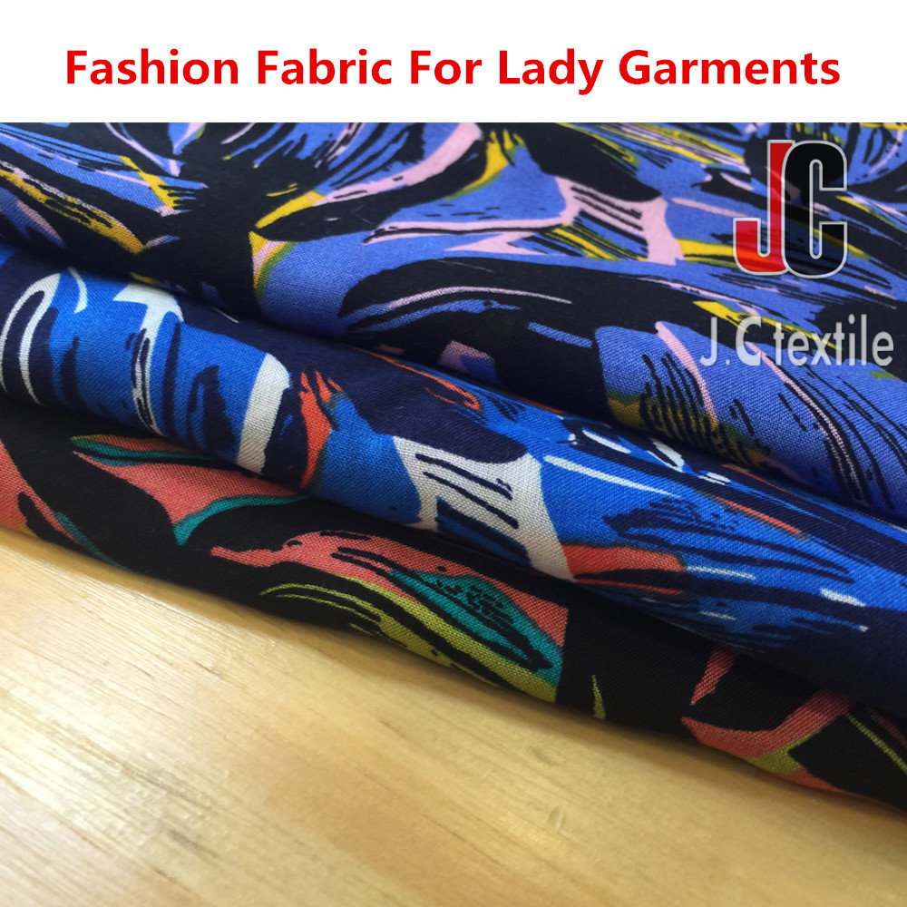 100% rayon printed fabric woven soft rayon voile fabric for lady dress