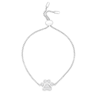 SENFAI elegant rhinestone cat dog paw print charm adjustable silver bracelet for ladies