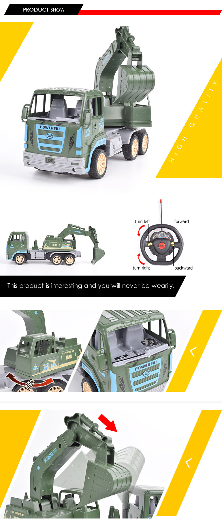 4ch gravity sensor military construction toy trucks remote control excavator for sale