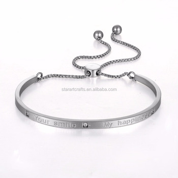 "New style european simple engrave ""your smile,my happiness"" lovers stainless steel bangle"