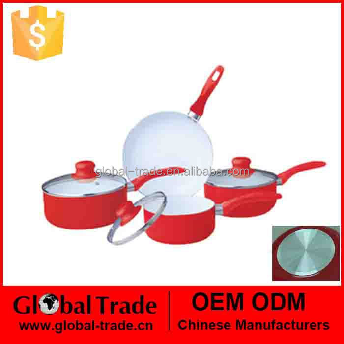 New Heavy Duty 7pc Ceramic Coated Cookware Set With Glass Lids 450214