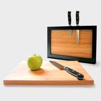 2 wooden Magnetic Cutting Boards set with Drying Holder and Knife Rack