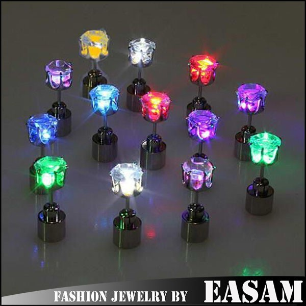 Fashion party club multi-color led earrings,wholesale light up led stud earrings