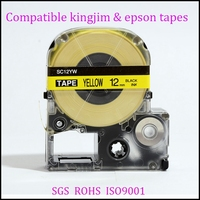 Top quality label printing tape SC12YW for KINGJIM/EPSON's ribbon cartridge printers black on yellow 12mm*8m 1.2''