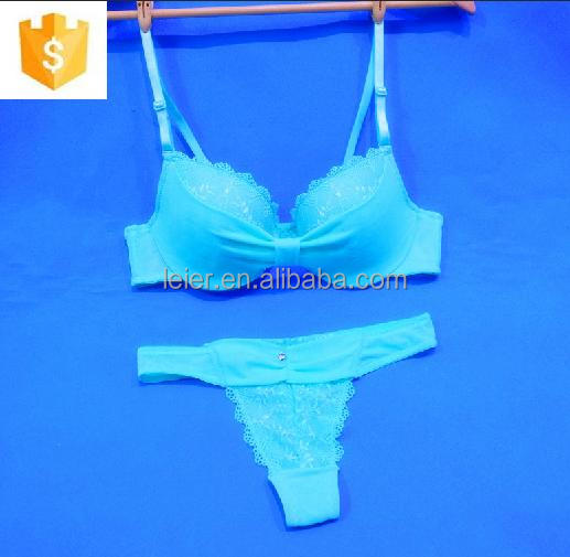 Sexy young lady bright colored lace bra set undergarment
