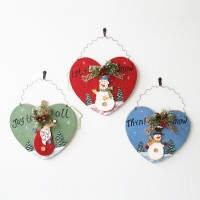 hand work christmas heart shaped wall hanging