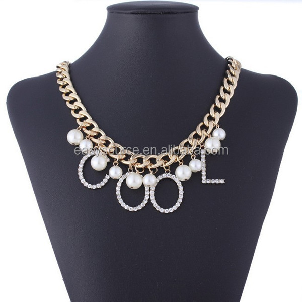 2014 new retro pearls chunky metal chain punk style personalized cool pendant necklace