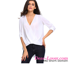 2017 Latest White V Neck Ruffle Loose Fit Simple Design Mature Lady Blouse