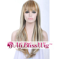 "22"" Heat Resistant Hair Silky Straight Wave Piano Color Mixed Grey Long Blonde Synthetic Layered Wig with Bangs for White Women"
