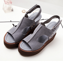 W11044G 2016 new design sandals genunine leather thick heel wedge shoes sandals wholesale